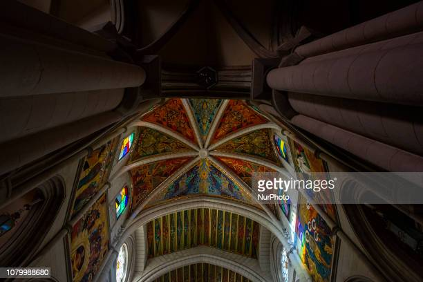 Detail of the paintings that decorate the apse of the Almudena Cathedral, in Madrid, were painted by Kiko Arguelles