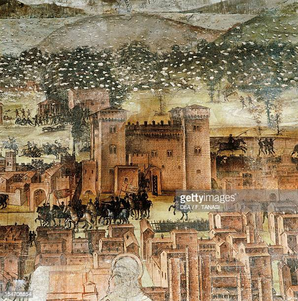 Detail of the panorama of Pavia Stories of St Theodore cycle frescoes created in the 16th century by Bernardino Lanzani St Theodore Church Pavia...