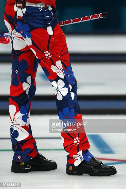 Detail of the pants worn by Haavard Vad Petersson of Norway while competing against Italy in the Men's Round Robin Session 11 on day eleven of the...