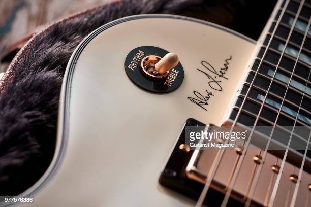Detail of the pickup selector switch on a Gibson Alex Lifeson ESLes Paul electric guitar with a Classic White finish taken on May 25 2017