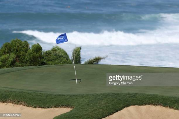 Detail of the pin flag on the 11th green during the final round of the Sentry Tournament Of Champions at the Kapalua Plantation Course on January 10,...