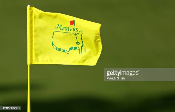 Detail of the pin flag on the ninth green during the final round of the Masters at Augusta National Golf Club on November 15, 2020 in Augusta,...