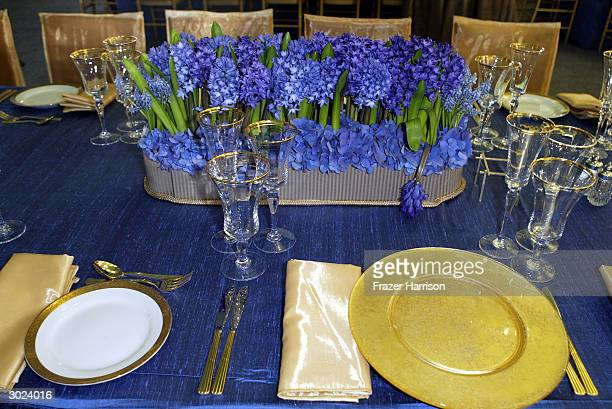 A detail of the placesetting arrangements at the Governors Ballroom before the Academy Awards on February 28 2004 in Hollywood California