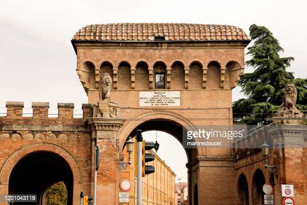 """detail of the porta saragozza in bologna, italy. - """"martine doucet"""" or martinedoucet stock pictures, royalty-free photos & images"""