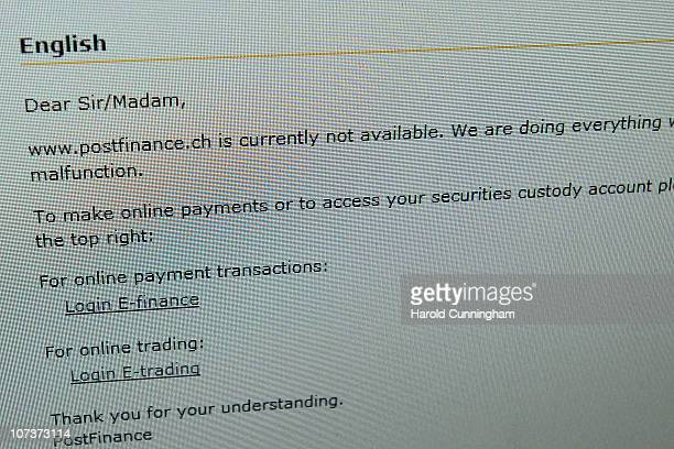 A detail of the PostFinancech website showing technical problems as it is hit by a distributed denialofservice apparently coordinated by hackers in a...
