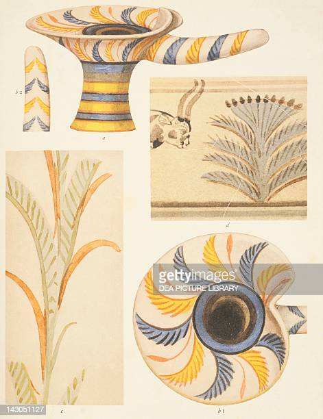 Detail of the pottery decorations from Knossos by Sir Arthur Evans from The Palace of Minos London Greece 20th Century