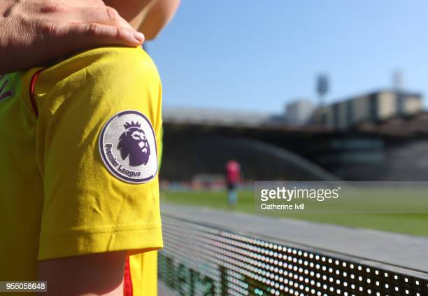 Detail of the Premier League logo on the shirt of a fan during the Premier League match between Watford and Newcastle United at Vicarage Road on May...