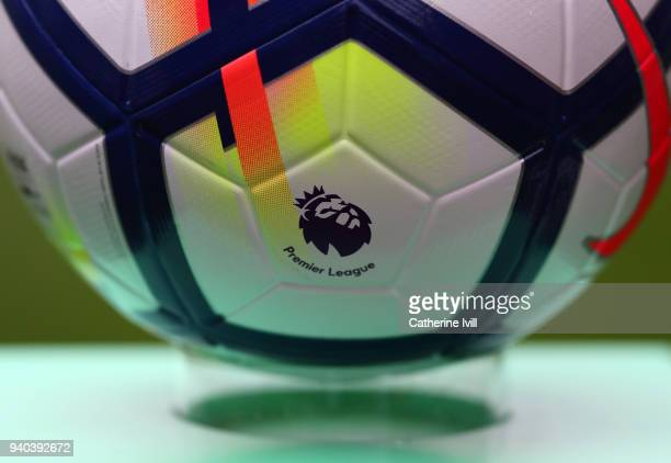 Detail of the Premier League logo on the white Nike ball during the Premier League match between Crystal Palace and Liverpool at Selhurst Park on...