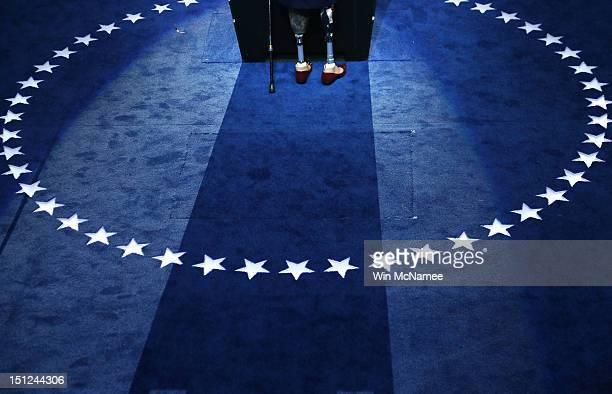 A detail of the prothetic legs of Illinois nominee for Congress Tammy Duckworth as she speaks during day one of the Democratic National Convention at...