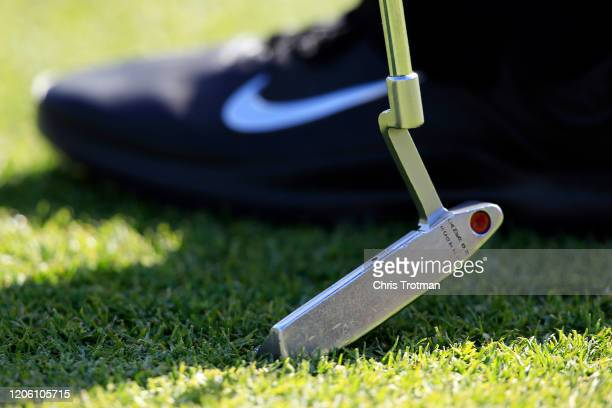 A detail of the putter of Tiger Woods of the United States during the first round of the Genesis Invitational on February 13 2020 in Pacific...