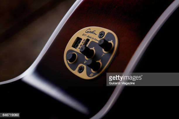 Detail of the Quantum 1T preamp on a Seagull Performer CW CH Burnt Umber Q1T electroacoustic guitar taken on April 26 2016