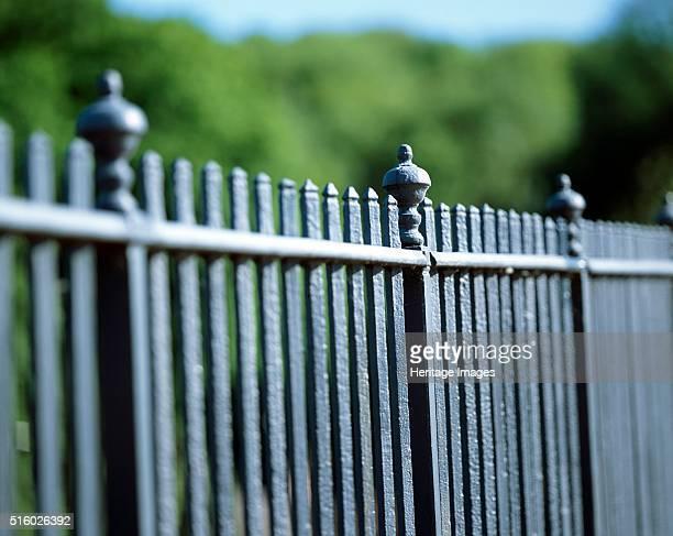 Detail of the railings on the parapet of the Iron Bridge Ironbridge Shropshire c2000s The development of coke smelting in Coalbrookdale Shropshire by...