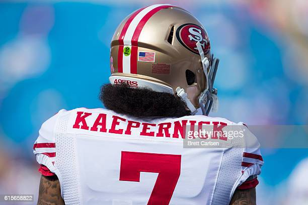 Detail of the rear of Colin Kaepernick of the San Francisco 49ers jersey before the game against the Buffalo Bills on October 16 2016 at New Era...