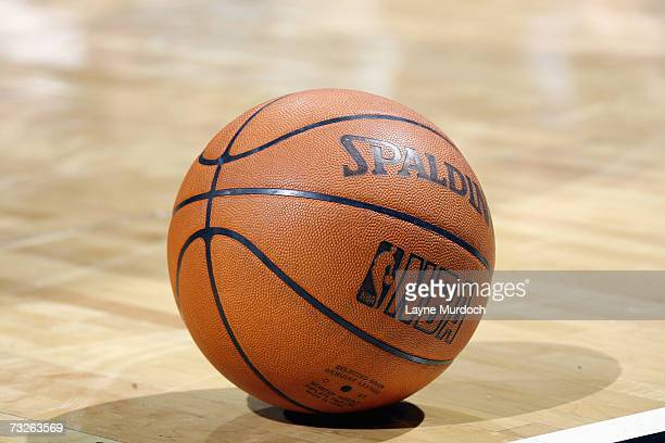 Detail of the reinstated leather official NBA ball which replaced the microfiber synthetic version at the beginning of the year during the NBA game...