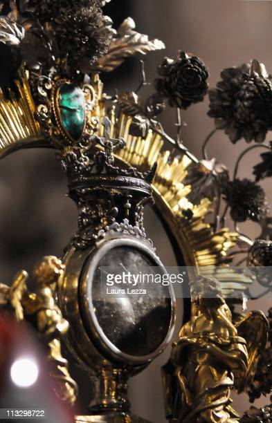 Detail of the reliquary containing the two vials of the blood of San Gennaro during a ceremony on the day of the blood miracle at Naples Cathedral...
