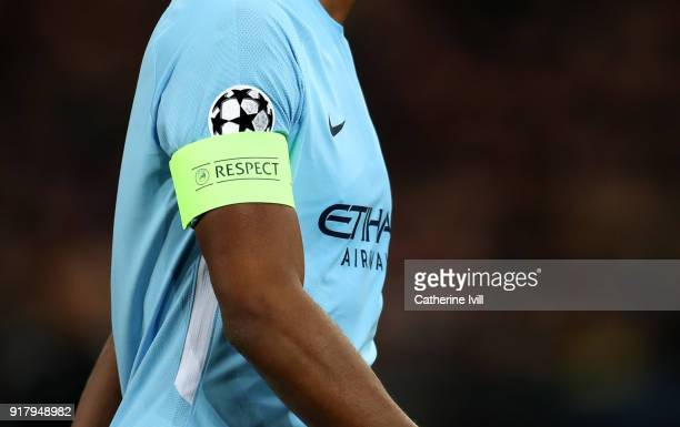 Detail of the Respect captains armband next to the Champions League logo on the sleeve of a shirt during the UEFA Champions League Round of 16 First...