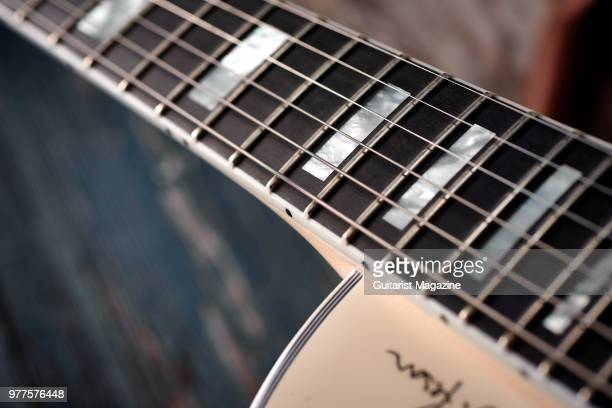 Detail of the Richlite fingerboard on a Gibson Alex Lifeson ESLes Paul electric guitar with a Classic White finish taken on May 25 2017