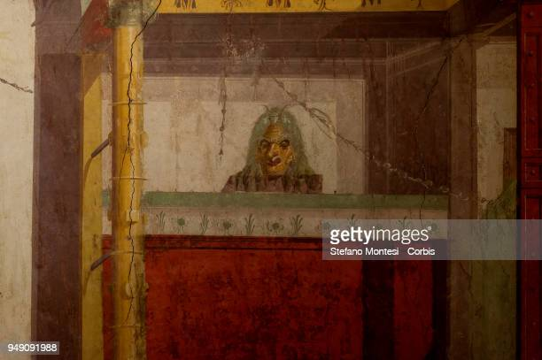 A detail of the room of the masks in the house of Augustus on the Palatino Hill in the Ancient Roman Forum on April 20 2018 in Rome ItalyPresented to...