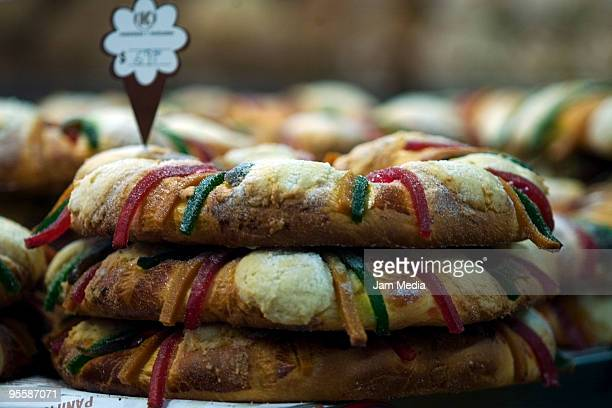 Detail of the Rosca de Reyes as part of the New Year's celebrations at a bakery of the historical center of the city of Mexico January 4 2010 in...