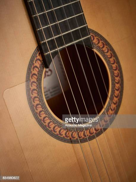 Detail of the rosette and spruce top on a Camps M5S flamenco guitar taken on January 18 2017