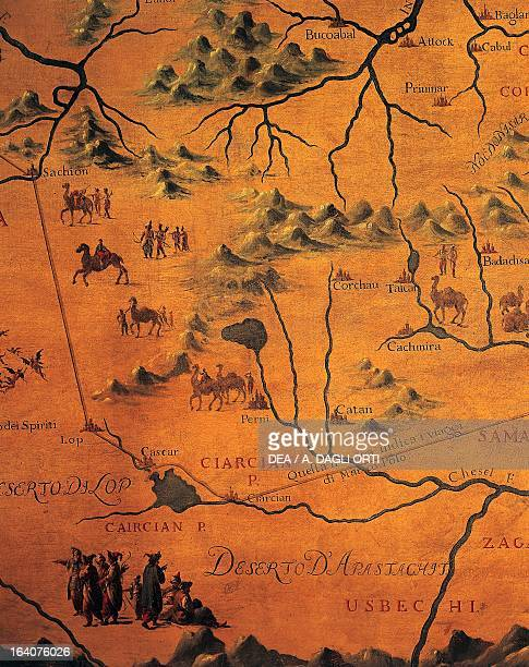 Detail of the route taken by Marco Polo through the deserts of the East original map by Giacomo Gastaldi retouched by Francis Grisellini Shield hall...
