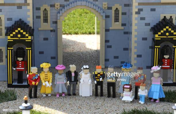Detail of the Royal Family and parents in a brand new model of Windor Castle goes on permananent display to celebate the wedding of HRH Prince Harry...