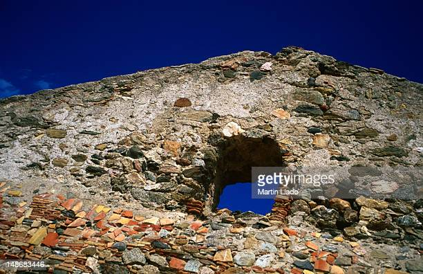 detail of the ruined cituadella fortress. - roses catalonia stock pictures, royalty-free photos & images