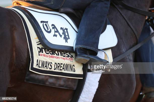 A detail of the saddle blanket of Kentucky Derby winner Always Dreaming as he trains on the track for the upcoming Preakness Stakes at Pimlico Race...
