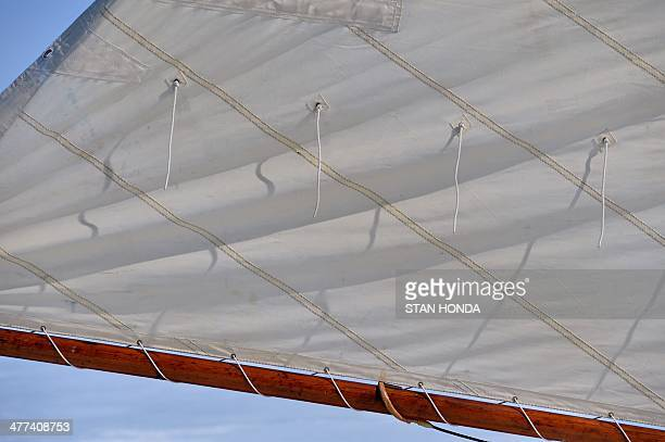 Detail of the sail on the ice boat Aurora before it sails on a frozen Hudson River March 7 2014 in Barrytown New York These historic 'ice yachts'...