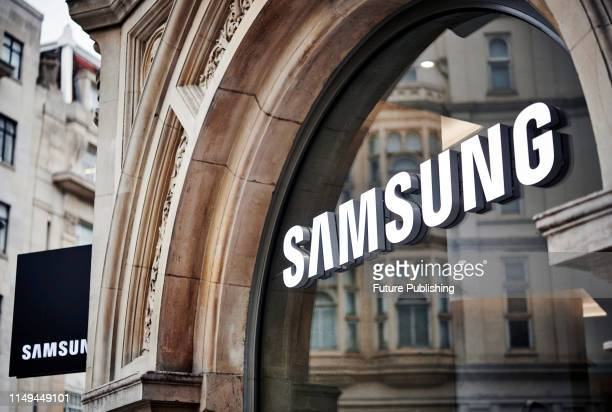 Detail of the Samsung logo in the window of the Samsung Experience Store on Oxford Street in London taken on June 4 2019