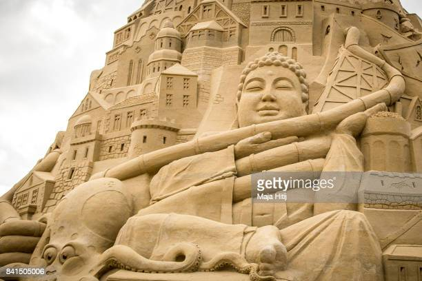 A detail of the Sandburg sandcastle is seen on September 1 2017 in Duisburg Germany A local travel agency commissioned the building of the sandcastle...
