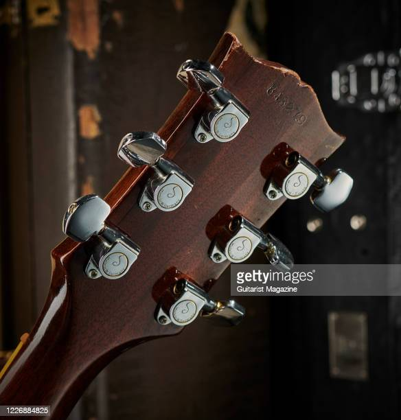 Detail of the Schaller tuners on a vintage 1969 Gibson Les Paul Professional electric guitar with a transparent Walnut finish taken on July 22 2019