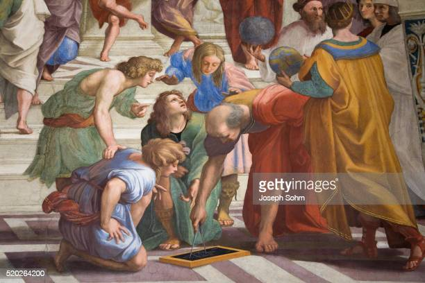 detail of the school of athens by raphael - school of athens stock pictures, royalty-free photos & images