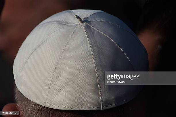 Detail of the scull cap of Pope Francis as he arrives to the General Francisco Mujica International Airport during his official visit to Mexico on...