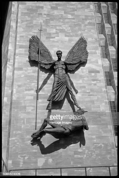 St Michael's Victory over the Devil' sculpture at Coventry Cathedral West Midlands circa 1958 circa 1980 Detail of the sculpture depicting St Michael...