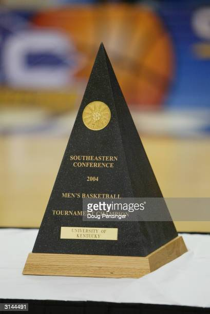 Detail of the SEC Men's Basketball Tournament Championship Trophy during the game between the University of Kentucky Wildcats and the University of...