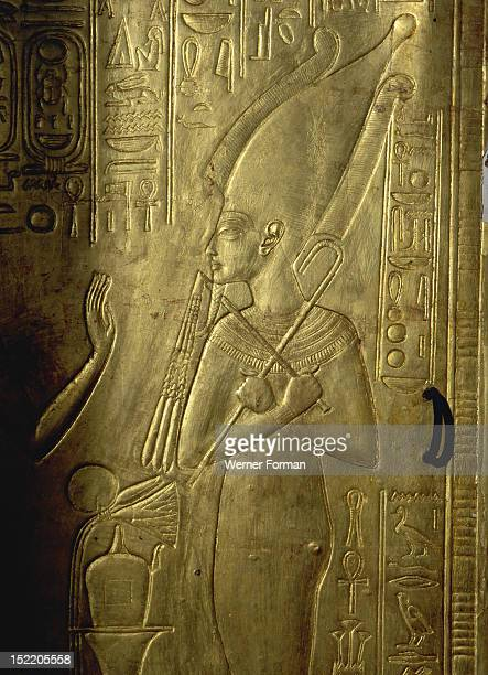 Detail of the second largest shrine of Tutankhamun The surface is decorated with vignettes from the Book of the Dead Detail of Osiris Egypt Ancient...