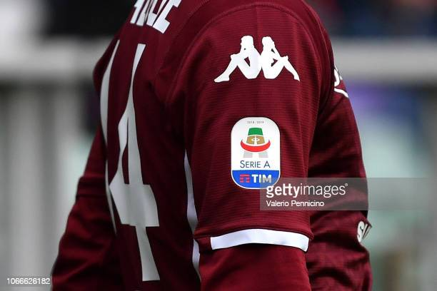 Detail of the Serie A logo during the Serie A match between Torino FC and Parma Calcio at Stadio Olimpico di Torino on November 10, 2018 in Turin,...