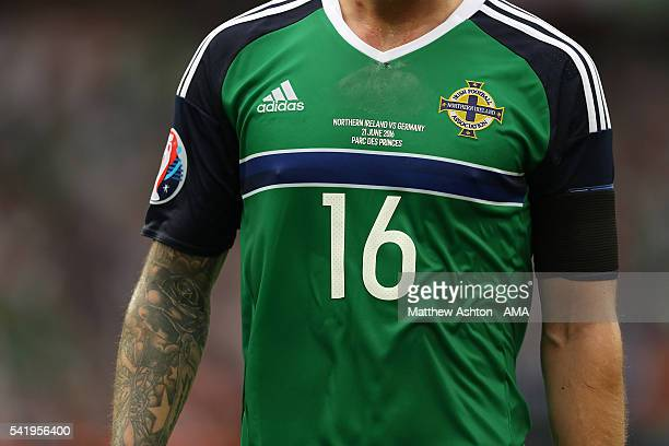 Detail of the shirt of Oliver Norwood of Northern Ireland during the UEFA EURO 2016 Group C match between Northern Ireland and Germany at Parc des...