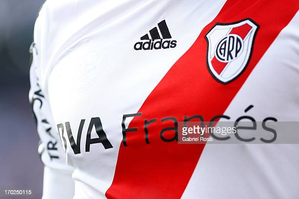 Detail of the shirt of River Plate during a match between River Plate and Independiente as part of the Torneo Final 2013 at the Monumental Vespusio...