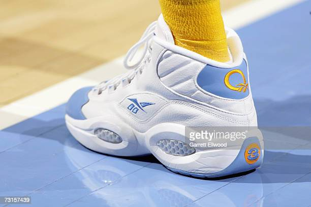Detail of the shoe worn by Allen Iverson of the Denver Nuggets during the NBA game against the Milwaukee Bucks on January 8 2007 at the Pepsi Center...