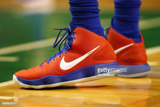 A detail of the shoes of Ben Simmons of the Philadelphia 76ers during the game against the Boston Celtics at TD Garden on January 18 2018 in Boston...