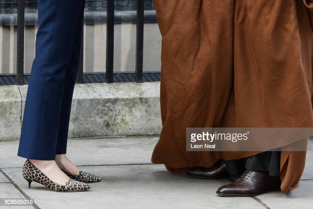 A detail of the shoes of British Prime Minister Theresa May and Saudi Crown Prince Mohammed bin Salman as they meet at number 10 Downing Street on...