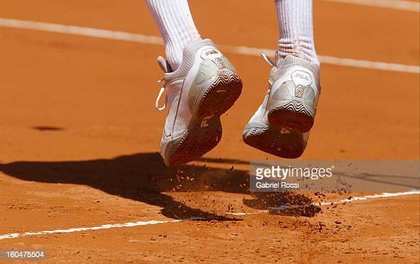 Detail of the shoes of Carlos Berlocq during the opening day of the series between Argentina and Germany for Davis Cup 2013 at Parque Roca Stadium on...
