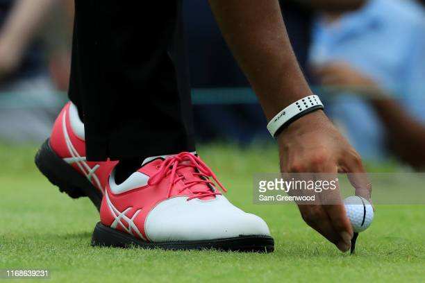 A detail of the shoes of Hideki Matsuyama of Japan during the third round of the BMW Championship at Medinah Country Club No 3 on August 17 2019 in...