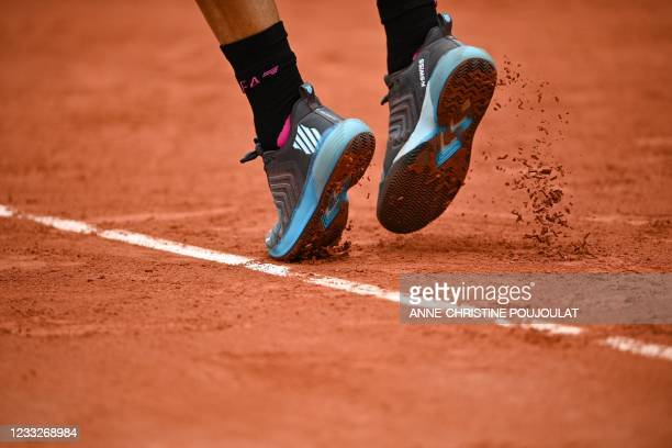 Detail of the shoes of Italy's Fabio Fognini as he plays against Argentina's Federico Delbonis during their men's singles third round tennis match on...