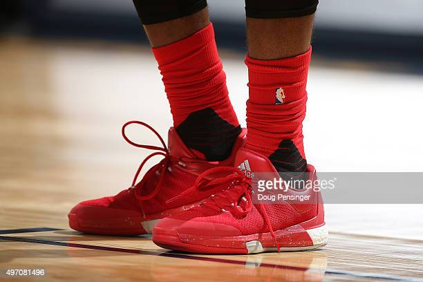 A detail of the shoes of James Harden of the Houston Rockets as he faces the Denver Nuggets at Pepsi Center on November 13 2015 in Denver Colorado...