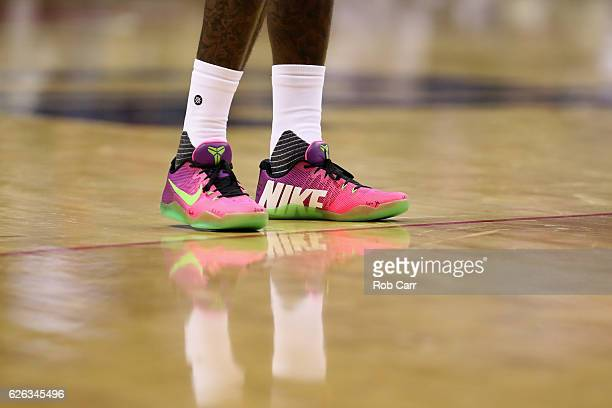 A detail of the shoes of John Wall of the Washington Wizards during the Wizards game against the Sacramento Kings at Verizon Center on November 28...