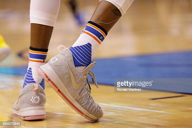 A detail of the shoes of Kevin Durant of the Oklahoma City Thunder in game four of the Western Conference Finals during the 2016 NBA Playoffs at...