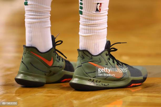 A detail of the shoes of Kyrie Irving of the Boston Celtics during the first half against the Denver Nuggets at TD Garden on December 13 2017 in...